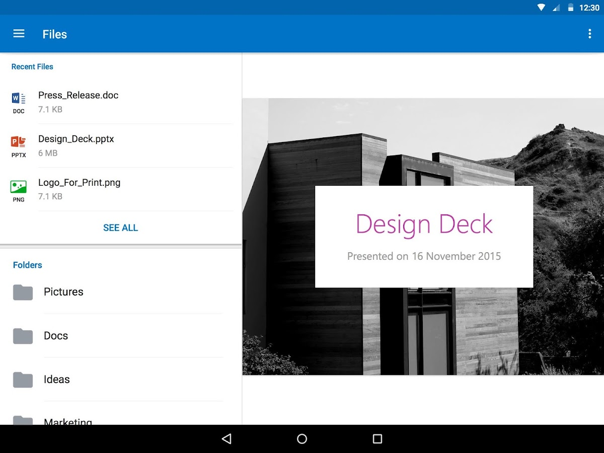 Screenshots of Microsoft Outlook for Android