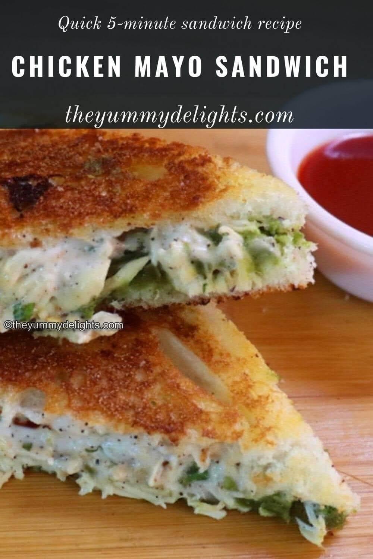 close up view of chicken mayo sandwich