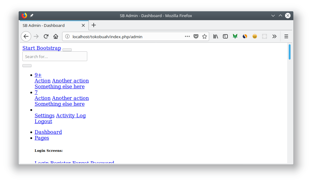 Template Admin yang gagal meload CSS