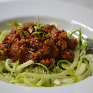 Quick Meat Sauce with Summer Zoodles.