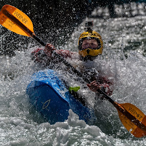 Kayaker with GoPro by Mike Watts - Sports & Fitness Watersports ( water, kayaker, kayak, whitewater )