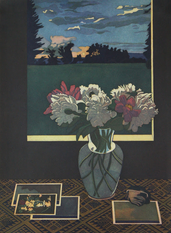 A still life print of a bouquet of flowers sitting below a windowsill. Outside the window, the sun sets above a copse of trees that extend into grass. On the table next to the flowers are postcards laying on a geometric tablecloth.