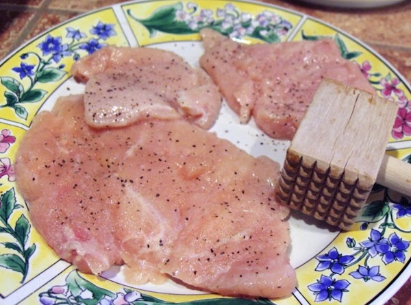 Lay chx. breasts out on a large flat plate or surface. Salt and pepper,...