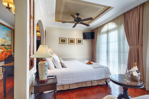 The luxurious Prestige Suite aboard Uniworld's Mekong Navigator.