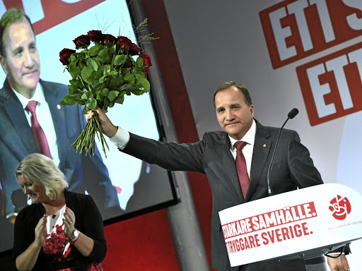 Thorny times ahead: Sweden's Prime Minister Stefan Lofven speaks at an election party at the Fargfabriken art hall in Stockholm, Sweden on Sunday. The leader of the Social Democratic party will have to rely on other parties to form a government, but this will not be an easy task. Picture: REUTERS