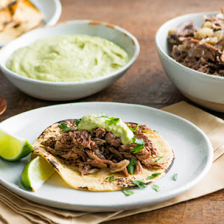 Slow Cooker Beef Tacos with Creamy Poblano Sauce