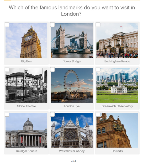 Which famous landmarks do you want to visit in London question