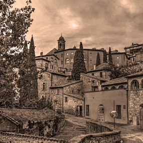 Memory by Darin Williams - Black & White Buildings & Architecture ( umbria, st frances, sepia, italy, assisi,  )