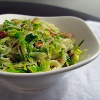 Pasta with Shaved Brussels Sprouts and Pancetta.