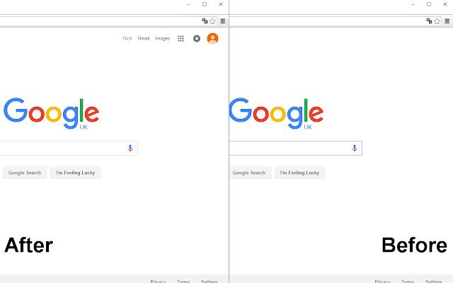 Remove account info in google search page.