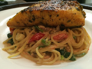 Herb Crusted Salmon With Pasta Florentine Recipe