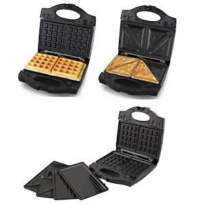 Sandwich Maker 3 in 1, placi detasabile, indicatoare LED, Negru