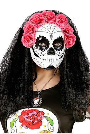 Day of dead, mask med svart slöja