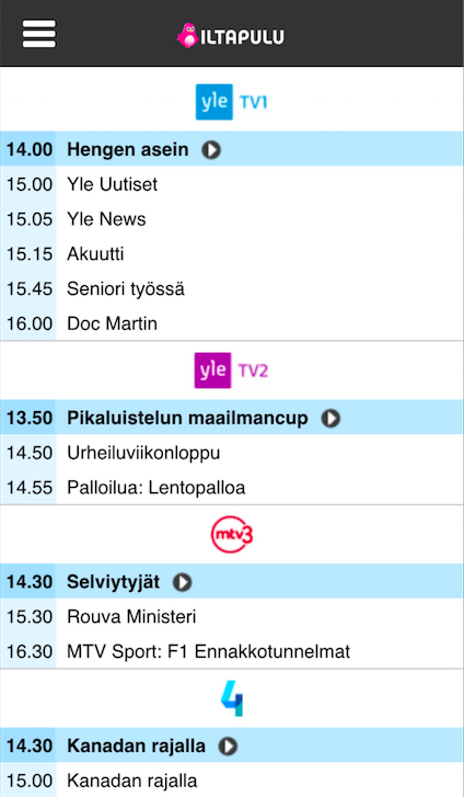 Iltapulu.fi TV-opas- screenshot