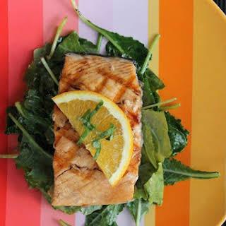 Orange Glazed Salmon with Wilted Kale.
