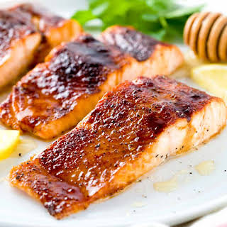 Broiled Salmon with Molasses Glaze.
