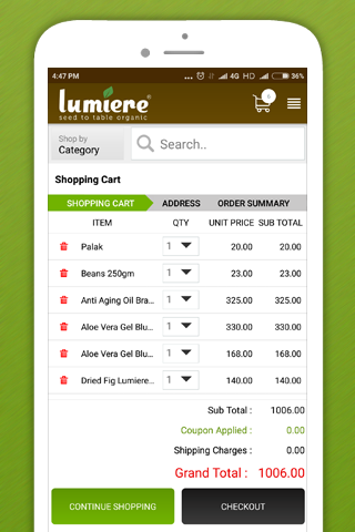 Lumiere -Shop organic products- screenshot