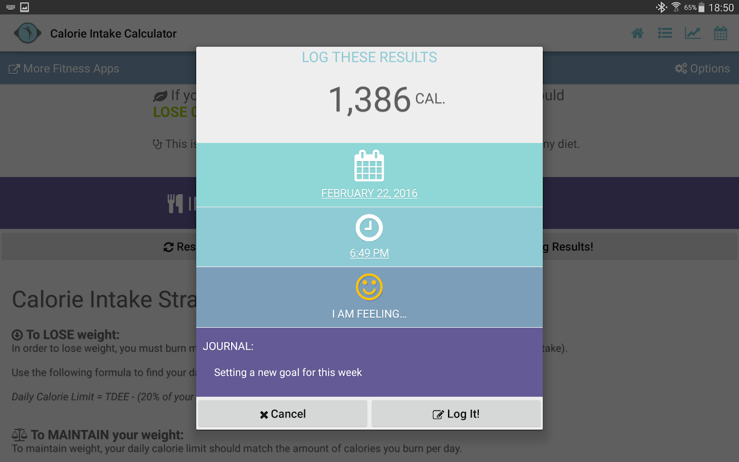 Calories Intake Calculator- screenshot