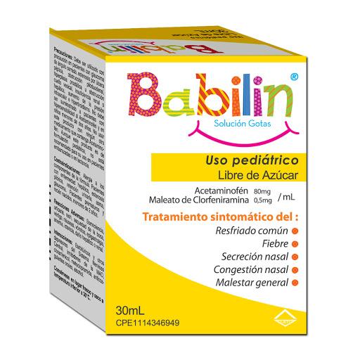 Acetaminofen + Clorfeniramina Babilin 80mg/0,5mg/mL