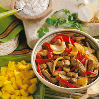 Mango Pork Fajitas with Chipotle Sour Cream.