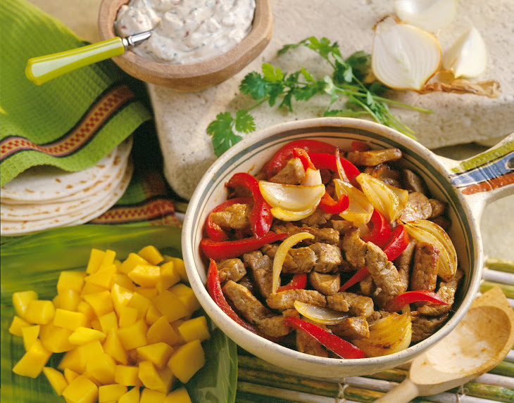 Mango Pork Fajitas with Chipotle Sour Cream Recipe