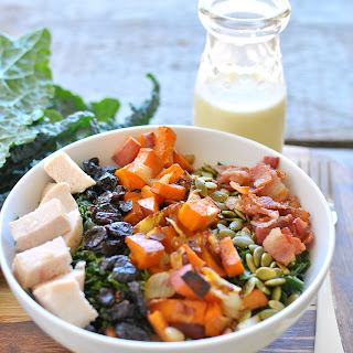 Fall Cobb Kale Salad with Apple Cider Vinaigrette.