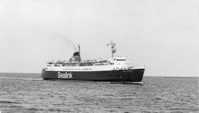"Photo: ""Ailsa Princess"" entering Cherbourg April 27, 1982 (Photo: A.M.S. Russell)"