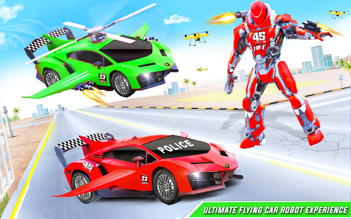 Flying Police Helicopter Car Transform Robot Games screenshots 10