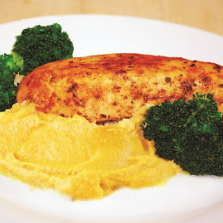 Herb Chicken With Sweet Potato Mash And Sautéed Broccoli