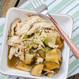 Slow Cooker Mississippi Chicken and Potatoes.