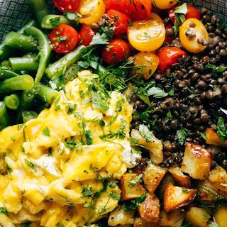 Sunshine Lentil Bowls with Garlic Olive Oil Dressing.