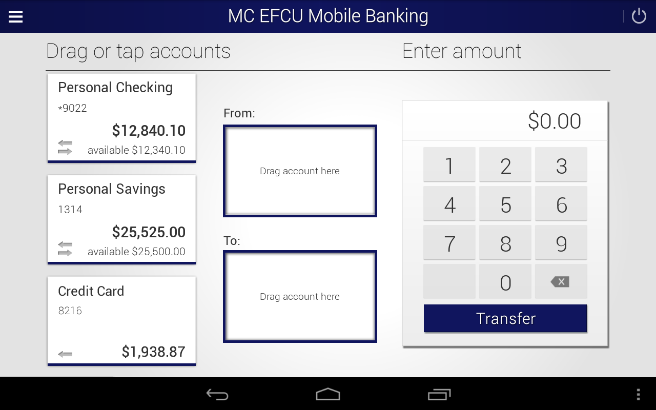 MC EFCU Mobile Banking- screenshot