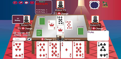 Online Multiplayer card games of 29 card game, T-29 (3 rounds)  and Call Bridge.