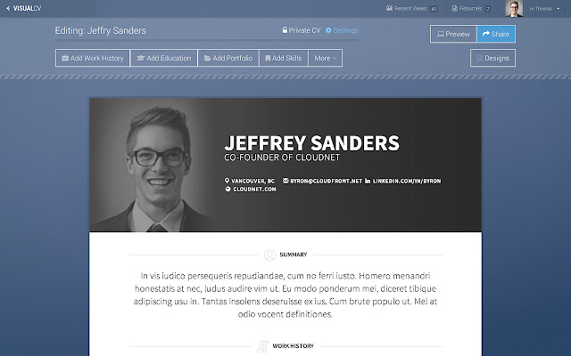 Visual Cv Online Resume Builder  Chrome Web Store