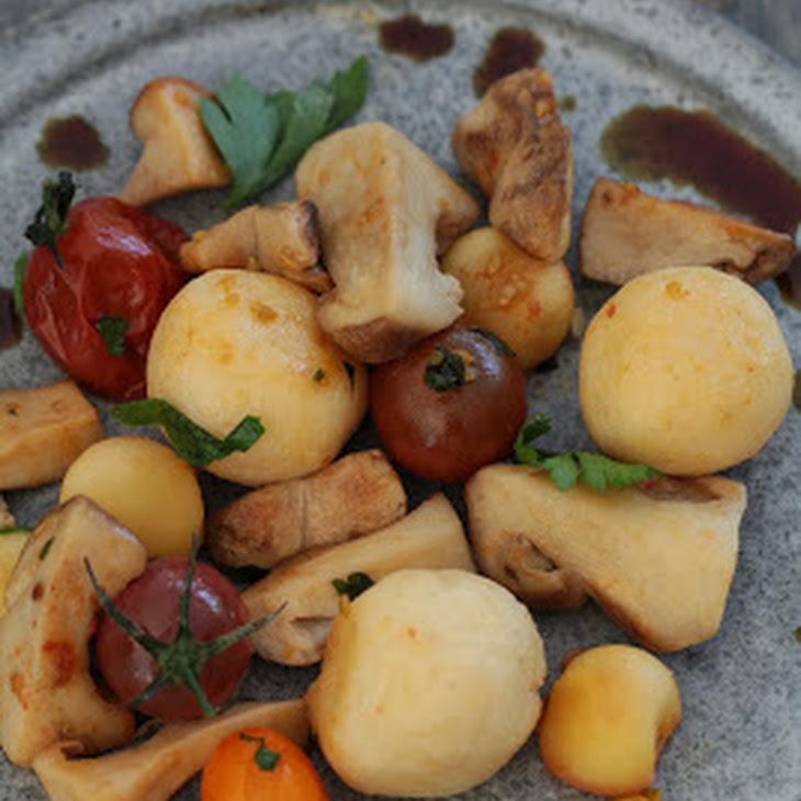 Bergkase Dumplings with Porcini Mushrooms, Apples, and Pumpkinseed Oil