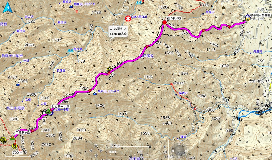 甲斐駒ヶ岳 登山コース地図
