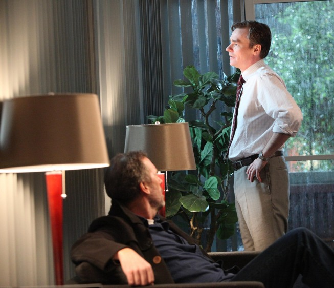 """Photo: HOUSE:  House (Hugh Laurie, L) listens as Wilson (Robert Sean Leonard, R) has some important news for him in the """"Body and Soul"""" episode of HOUSE airing Monday, April 23 (9:00-10:00 PM ET/PT) on FOX.  ©2012 Fox Broadcasting Co.  Cr:  Adam Taylor/FOX"""