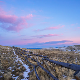 Gentle Sunset by Viks Pix - Landscapes Mountains & Hills ( sky, hill, horizon, mountain, color, sunset, wasteland, clouds, fence, grassland, landscape )