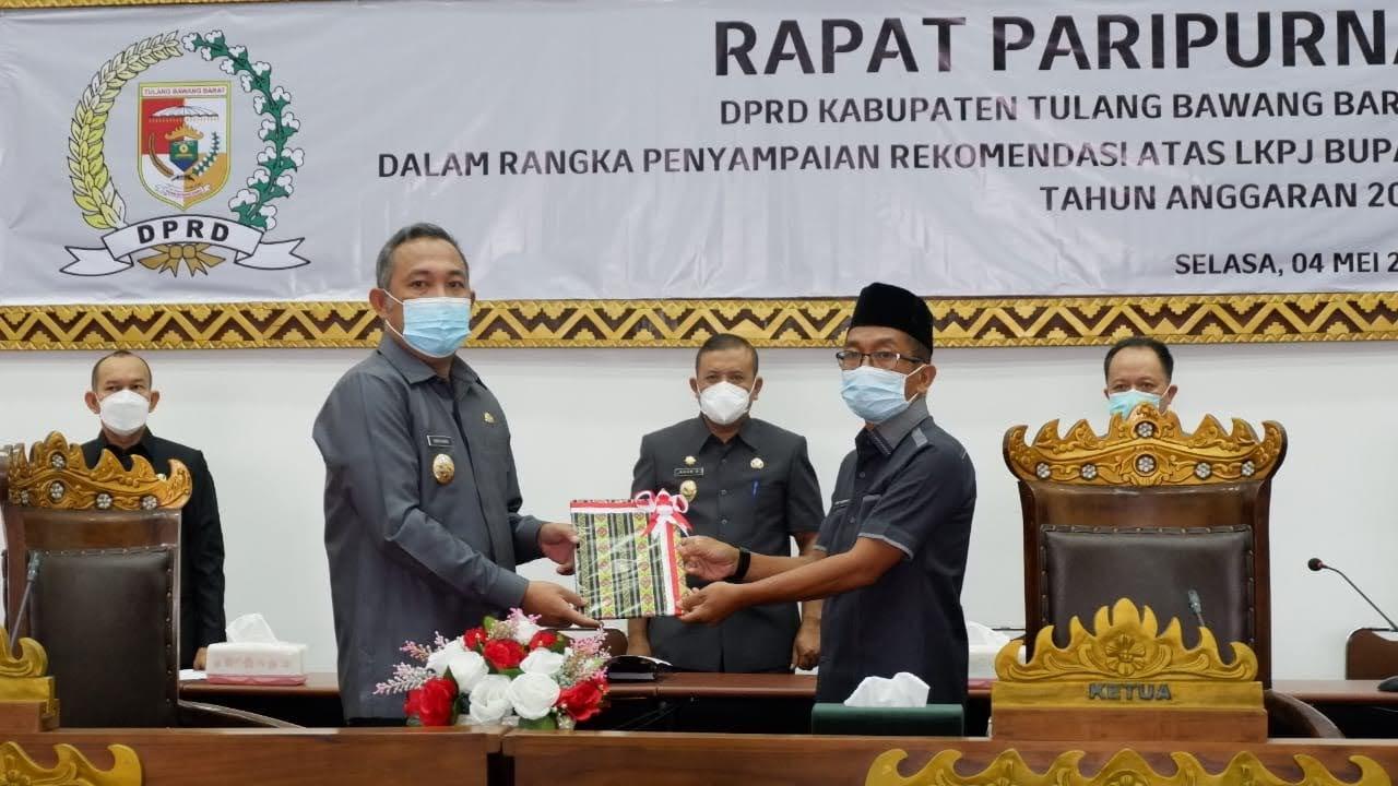 DPRD Tulangbawang Barat Gelar Rapat Paripurna Terkait LKPJ Tahun 2020