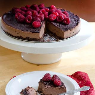 Double Dark Chocolate & Raspberry Vegan Cheesecake.