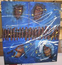 Photo: barke (i slika) gore lijevo je Paolina, gore desno je Vedranova (to su zasebna 4 platna koja čine jednu izložbenu sliku)