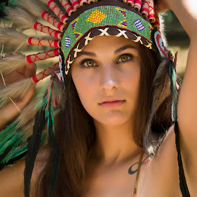 Native American Girl / Jackie 002 by Barry Blaisdell - People Portraits of Women ( sexy, model, nature, outdoors, beautiful, indian, native american,  )
