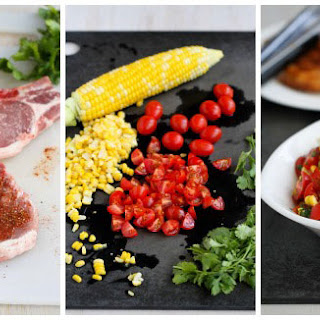 Grilled Pork Chops With Corn And Tomato Salsa.