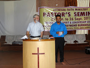 Photo: Brother Milo teaching through his interpreter. Brother Milo was teaching on the Suffering Servant Leader. His teaching was excellent and very practical for these dear pastors.