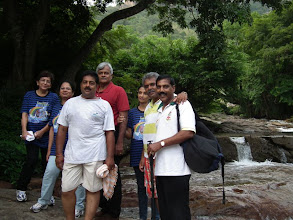 Photo: Jen, Sudha, Vivek, Doc J, Sheila, Shekhar and Thamil at a picturesque spot enroute to Shenbagadevi temple and falls.