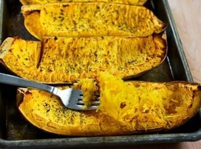 Remove Squash from oven.Cool slightly. Using a fork,carefully scrape squash flesh into a bowl....