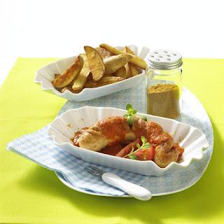 Sausage, Homemade Tomato Sauce and Potato Wedges.