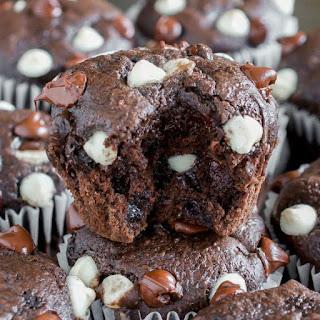 Triple Chocolate Brownie Zucchini Muffins