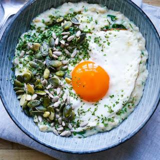Savoury Oat Porridge with Greens + An Egg.