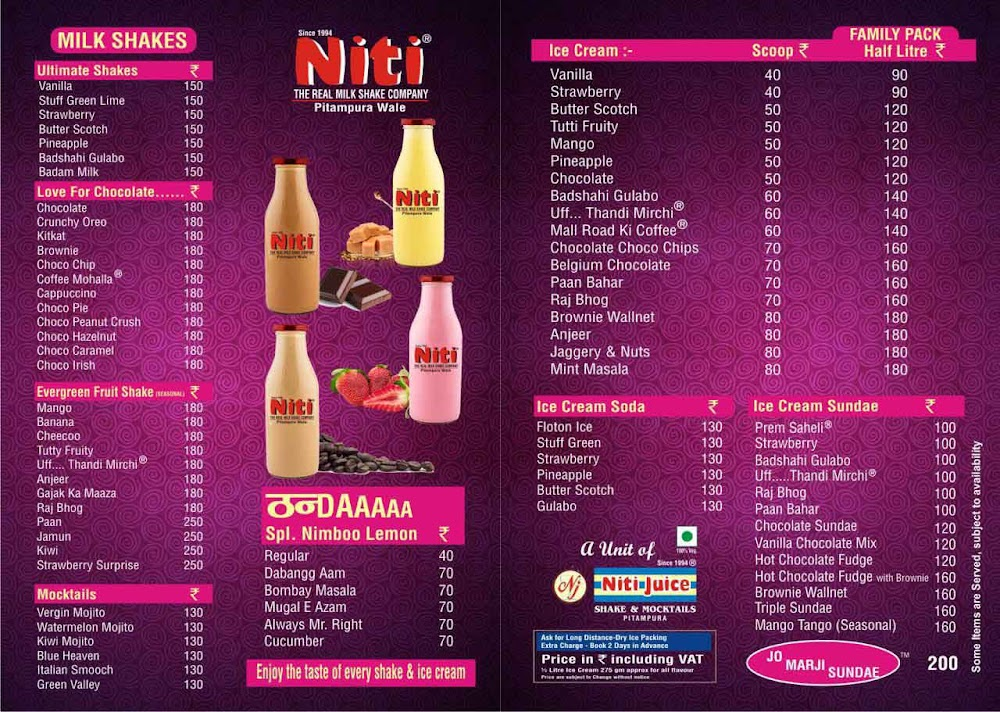 Niti Shake & Ice Cream Hub, Sector 11 menu 2